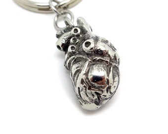 Anatomical Heart Keychain in Polished Pewter, Anatomically Correct 3D Human Heart Key Ring