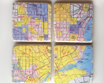 Detroit Map Mosaic Coaster Set