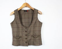 Checkered Brown Vest Plaid  Womens Waistcoat Vintage Slim fit  90s Cotton Chain Button Up Pockets/ Small
