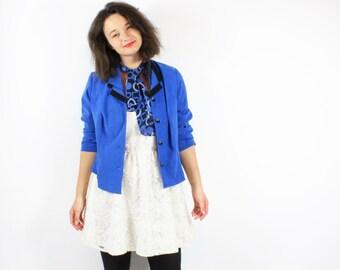 Vintage 80s Royal blue blazer Jacket Blouse with ascot Bow Tie/ Medium
