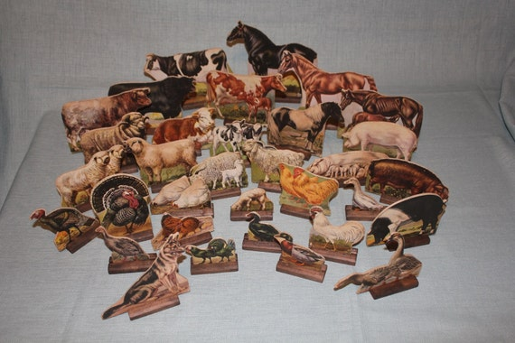 Reserved for sedso79 vintage cardboard farm animal lithographs with
