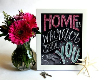 Home Is Wherever Im With You, Anniversary Gift, Chalkboard Art, Chalk Art, Housewarming Gift, Wedding Gift