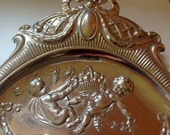 Antique Crumb Tray, metal Dust or crumb pan 1920's Art Deco Vintage aluminum