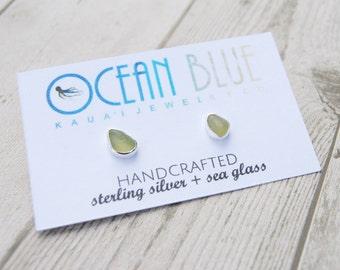 Peridot Green Sea Glass Sterling Silver Stud Earrings