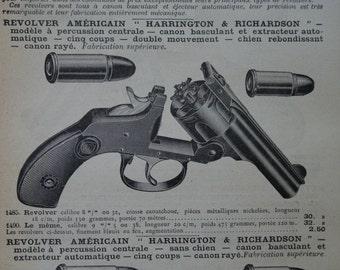 "1902 - Revolver Print - Vintage French Print - Antique Revolver Illustration - Old Print for Home or Office Decor  - 5x8"""