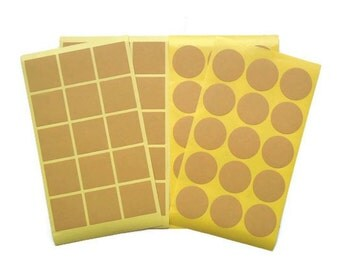 90 labels 35mm Blank Kraft Sticker - Round or Square or Both!