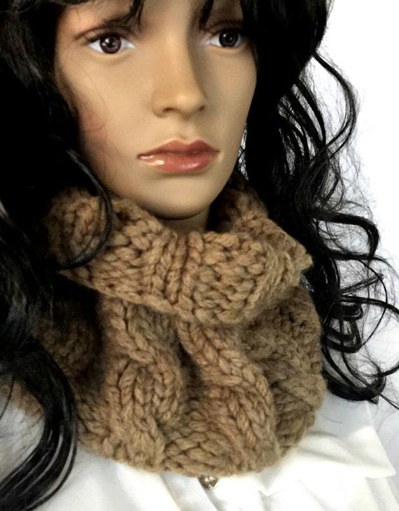 Outlander Bulky Brown Cabled Cowl Diana Gabaldon Crocheted Neckwarmer