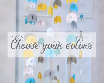 Elephant mobile you CHOOSE YOUR COLORS! nursery mobile, nursery decoration, paper mobile