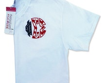 Phi Sigma Sigma Red White & Blue Patriotic Greek Letter Circle Monogram Applique T-Shirt