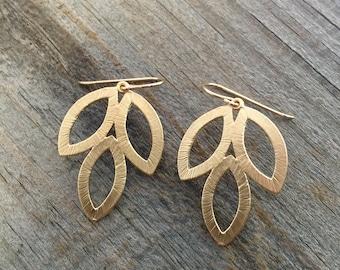 Dainty Gold Drop Earrings / 14K Gold Filled Ear Wires / Matte Gold Leaf Earrings / Gold Dangle Earrings