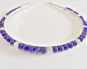 Cobalt headband, Cobalt blue headband, Bridal hair band,  Prom hair band, Blue hair band, Beaded hair band, Cobalt blue beads, UK seller