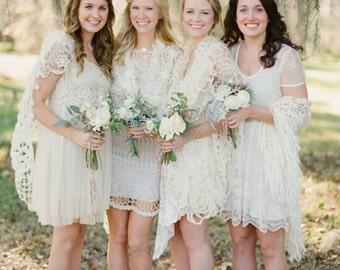 Sheer Lace Shawl, Swimwear, Cruise wear, Beachwear, Ivory Wedding Shawl, Sarong, Pareo