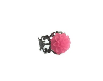 Pink Dahlia Ring, Adjustable Ring, Silver Filigree Ring, Resin Flower Ring, Filigree Ring, Cabochon Ring, Statement Ring