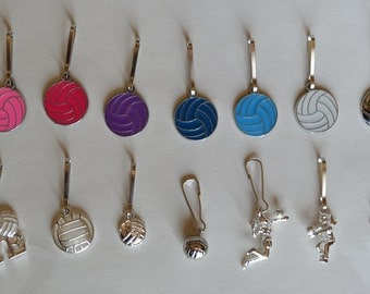 Volleyball zipper pull with silver pendant