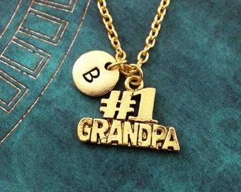 Number One Grandpa Necklace Grandpa Jewelry Gold Father's Day Necklace Personalized Father's Day Jewelry Father Necklace Best Grandpa Gift