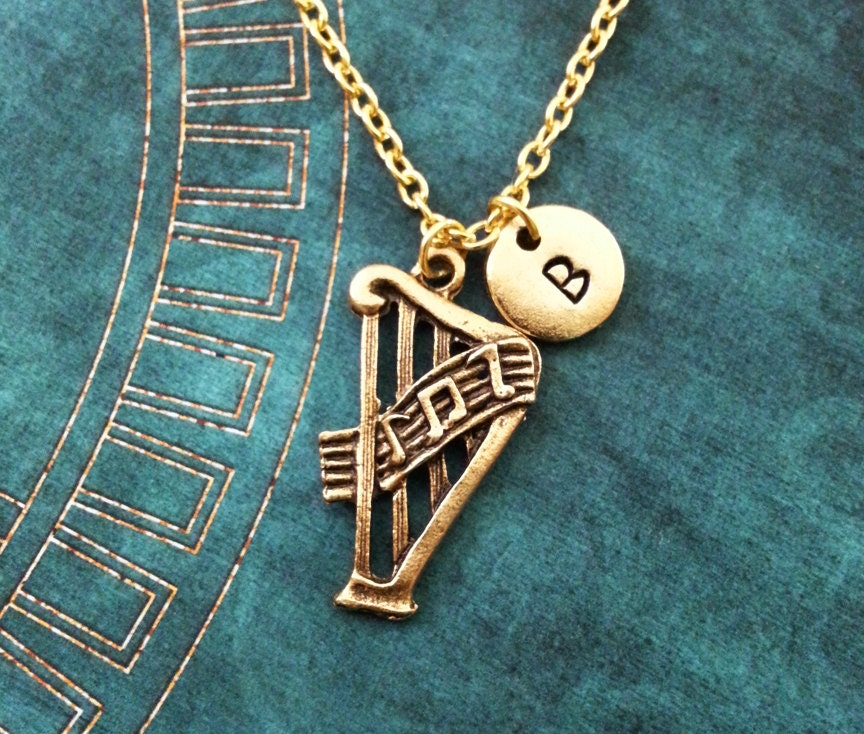 Harmonica Necklace: Harp Necklace SMALL Gold Necklace Personalized Jewelry Harp