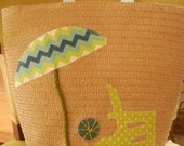 Straw Tote Bag with Appliqued Fabric Beach Umbrella, Beachball & Beach Chair