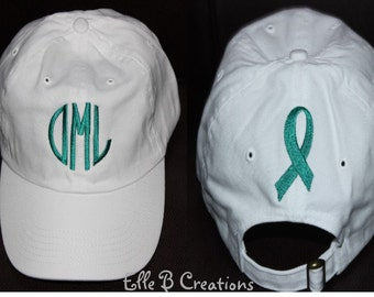 Monogrammed Ball Cap With Embroidered AWARENESS RIBBON on Back