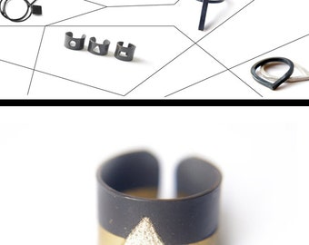 triangle ring, engraved texture minimal geometric ring, handmade adjustable metalwork ring gift for her,band ring black gold