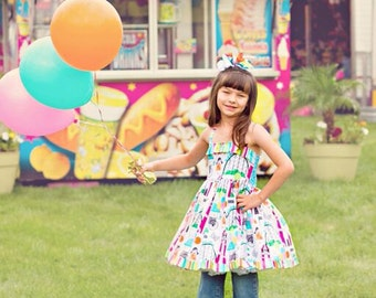 Boutique custom handmade pageant girls Carnival Fair twirl dress