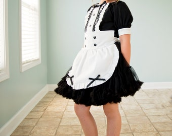 Boutique custom handmade pageant girls French Maid Costume