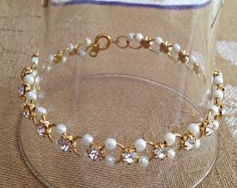 Pearl and Rhinestone Gold Bracelet, Rhinestone and Pearl Bracelet, Delicate Pearl and Rhinestone Bracelet