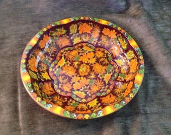 Daher Tin Bowl, Decorated Tin Bowl, Daher Tin Dish 1971, Made in England