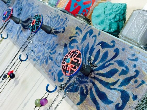 Recycled wood floating Necklace holder reclaimed wood decor /jewellry wall rack organizer /jewelry storage scarf hanger 6 blue hooks 5 knobs