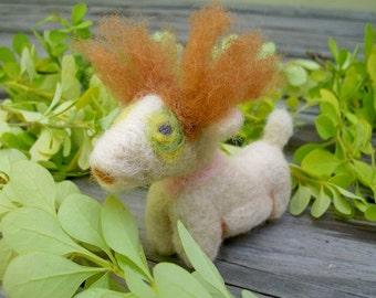 Needle Felted Animal, Wild-Haired Whatsit, Handmade Creation