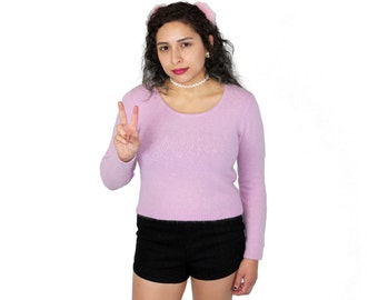 Mauve 90s Fuzzy Sweater Top, Fuzzy Sweater Top, 90s Sweater Top, Mauve 90s Jumper, Mauve Jumper, Rave City Sweater