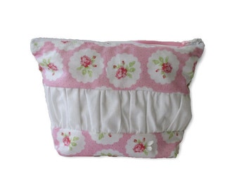 Zip Pouch   Cosmetic Bag   Toiletry Organiser  Travel Bag  medium Zip Pouch   cosmetic case, pink roses