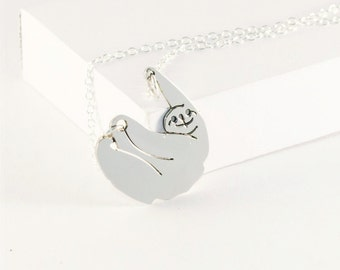 Sloth necklace, animal necklace, animal pendants,! Sterling silver chain