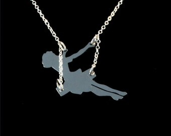 Girl on a Swing Necklace! Swinging girl Necklace! Sterling silver chain