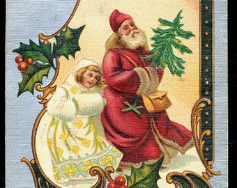 Germany Father Christmas with Girl 1906 Postcard