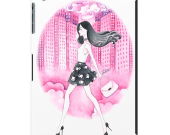 iPad case, ipad cover, ipad mini, ipad air, fashion illustration, fashion art, girl art, pretty ipad case, watercolor, pink - Dream on