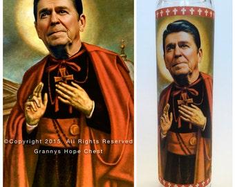 "Ronald Reagan Prayer Candle. Saint Reagan! Great Gift! Premium Handmade 9"" Soy Candle!"