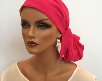 Jessica Pre-Tied Head Scarf, Women's Cancer Headwear, Chemo Scarf, Alopecia Hat, Head Wrap, Head Cover for Hair Loss - Hot Pink