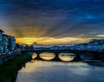 View of the Arno River, Florence, Italy Color Digital Print