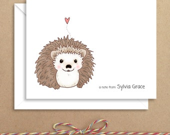 Hedgehog Note Cards - Folded Note Cards - Personalized Children's Stationery - Thank You Notes - Illustrated Note Cards