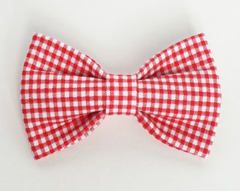 SALE Mini Gingham in Red fabric bow tie for dog/cat collars, pet bow tie, collar bow tie, wedding bow tie