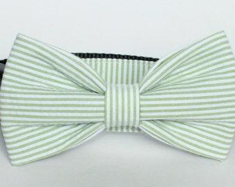 Green Seersucker Dog Collar Bow Tie set, pet bow tie, collar bow tie, wedding bow tie