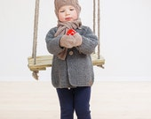Grey baby coat / Hand knitted wool sweater / Baby / Kids / Children Cardigan / Duffle Coat / toddler sweater