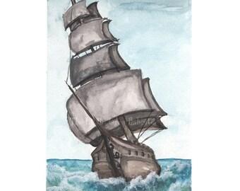 Tall Ship Print, Nautical Art, Watercolor Print, Sailing Ship, Nautical Decor, Boat Art Print, Ocean Art, Pirate Ship, Beach House Decor