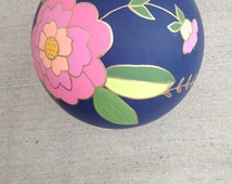 Hand painted globe, floral globe, vintage globe