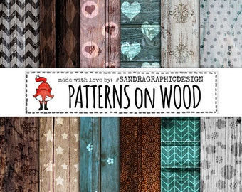 """Wood digital paper: """"PATTERNS on WOOD"""" with wood backgrounds, wood textures, wood patterns (1100)"""