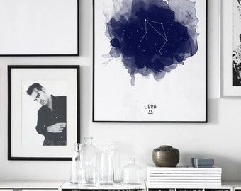 Libra Constellation, Libra zodiac, Zodiac Constellation, Stars constellation, Astronomy print, Astrology Watercolor print