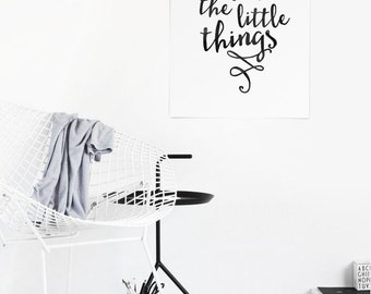Printable Enjoy the little things, Digital Download, Typographic Print, Instant Download, Printable Art, Print Art, Typography Poster