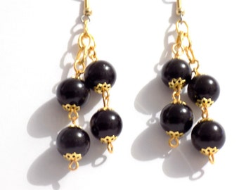 Earrings, Black and gold dangly earrings, bridal earrings, black earrings, gold cluster earrings, pearl cluster earrings