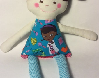 "SALE*Handmade Girl Cloth Doll 17.5"" Grace Plush Softie Rag Doll With Blue Dress Brown Wool Felt Hair"