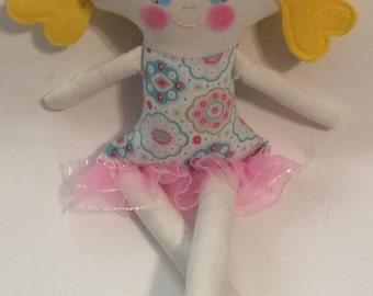 "SALE*Handmade Girl Cloth Doll 17.5"" Haley Plush Softie Rag Doll With Pattern Print Dress Blond Wool Felt Hair"